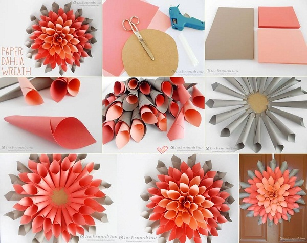 Diy paper craft projects home decor wreath for Decorative flowers for crafts