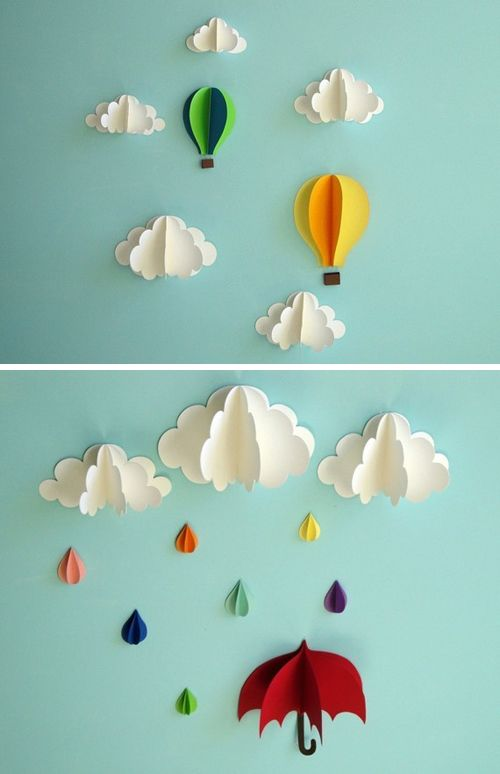 Clouds And Hot Air Balloon Sculptures To Your Childs Bedroom Superb DIY Paper