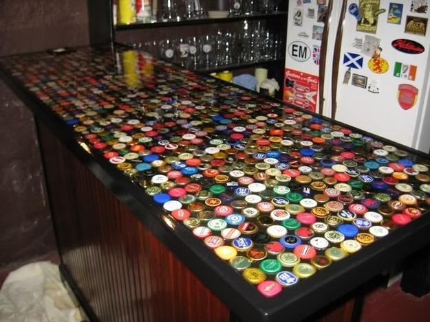 DIY Bottle Cap Bar Top