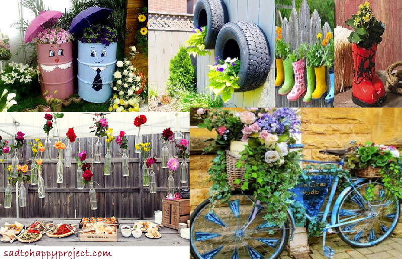 14 diy gardening ideas to make your garden look awesome in for Homemade garden decorations