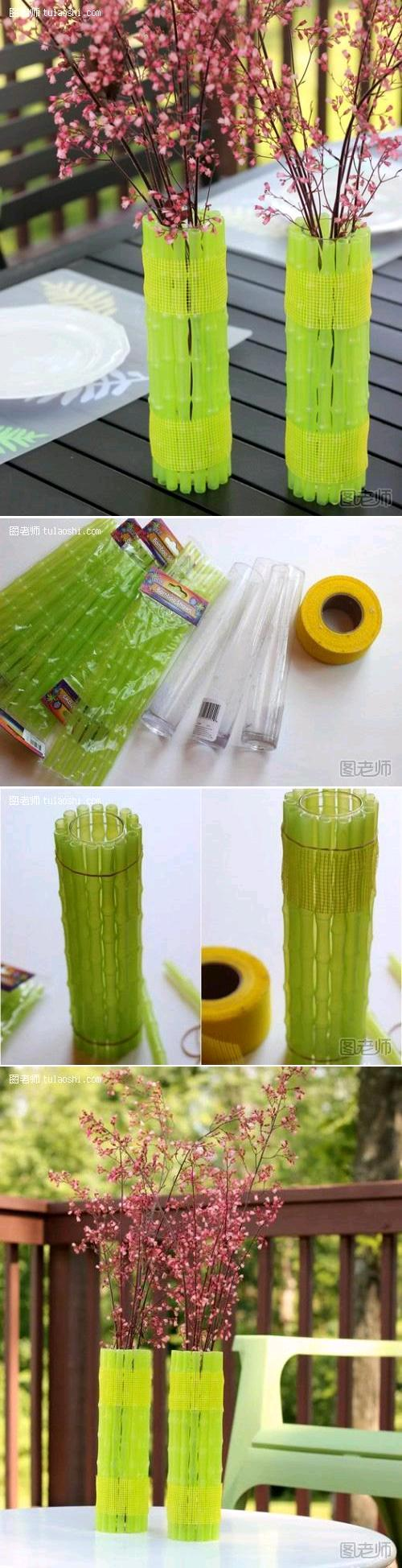 diy craft projects bamboo simple vase decor handmade crafts decoration creative neon tutorials spring fresh decorations vases easy glow dark