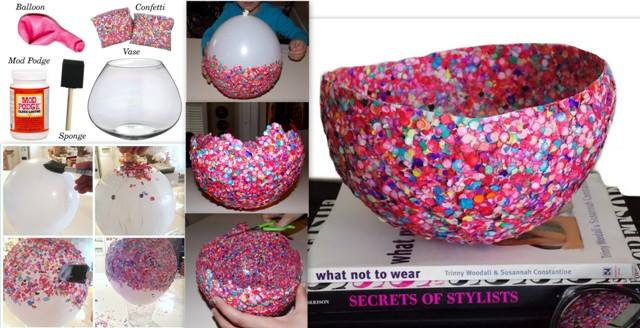 diy ideas balloon bowl DIY Yarn Bowls craft4