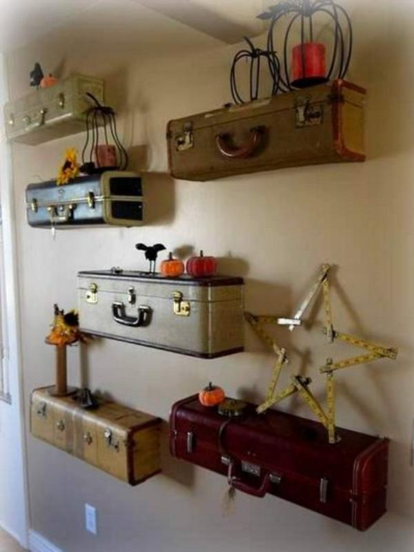 9 unique and useful do it yourself projects for home decor sad to diy suitcases shelf solutioingenieria Image collections