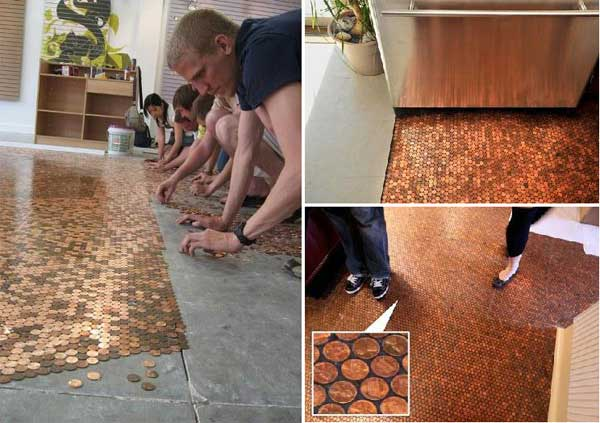 diy penny floor tile penny projects crafts ideas4
