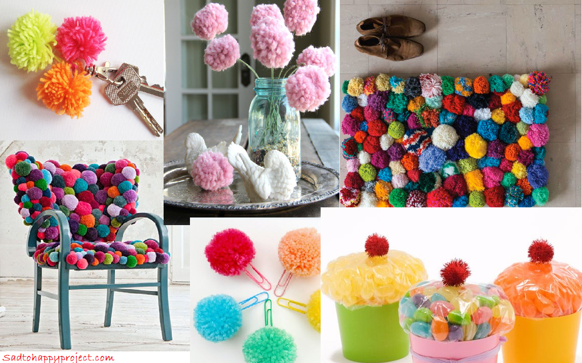 31 cute and easy diy pom pom decoration ideas in your budget sad to happy project. Black Bedroom Furniture Sets. Home Design Ideas