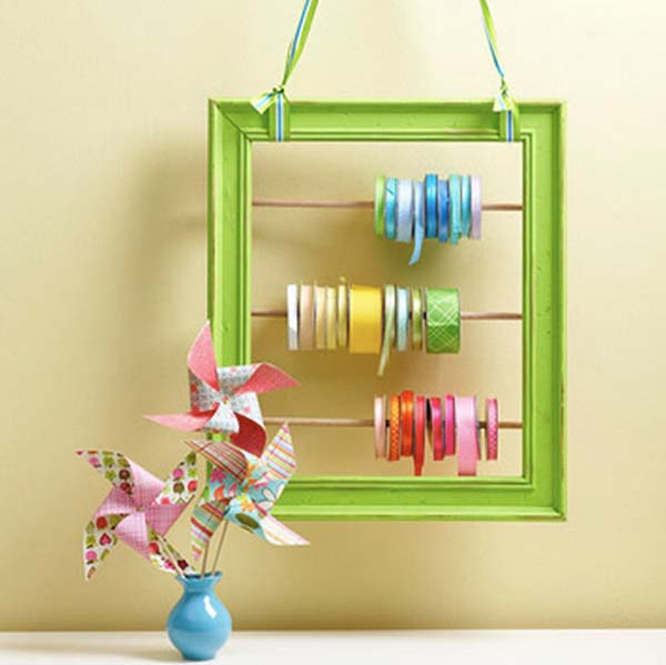 41 diy ideas to brilliantly reuse old picture frames into home decor diy ribbon holder from frames solutioingenieria Image collections