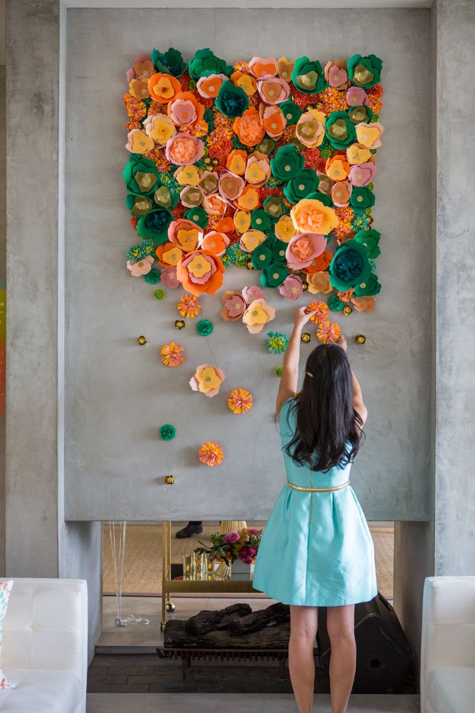 Diy wall flower art homesthetics for Art and craft for wall decoration