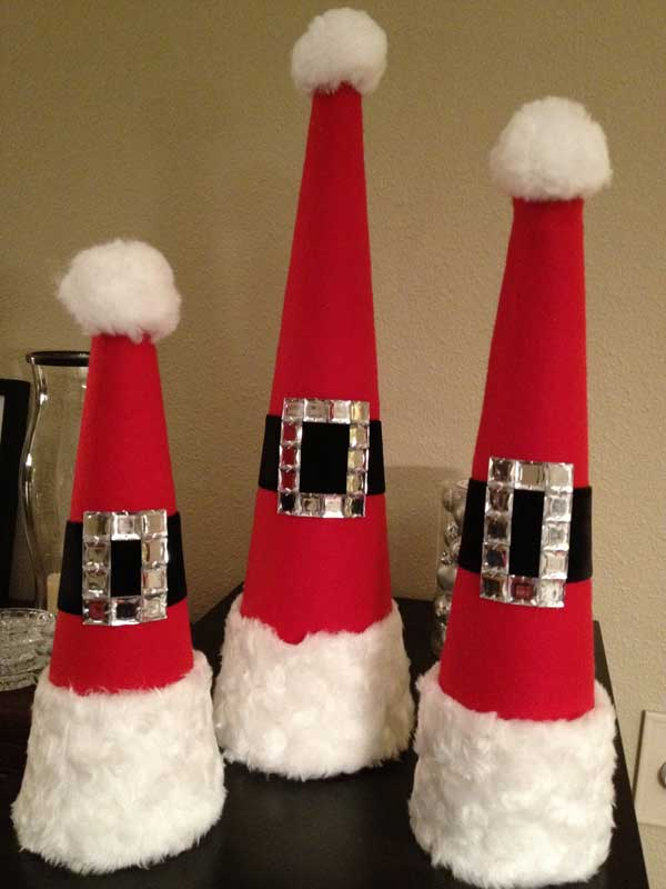 cute santa hats diy homemade christmas decorations - Cute Homemade Christmas Decorations