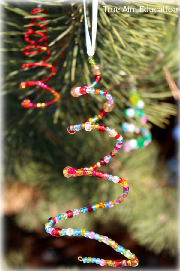 Christmas Tree Decorating Ideas Crafts Part - 50: Homemade Beaded Christmas Tree Ornaments. DIY Homemade Christmas Decorations  ...