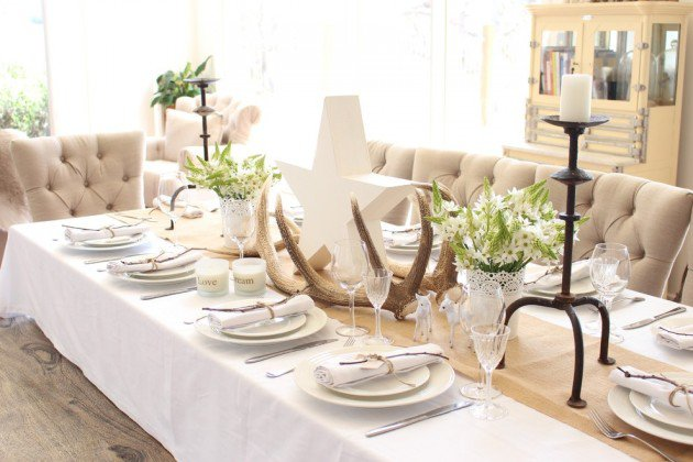 White Hessian And Soft Green Table Setting For Christmas Dinner Room Decoration