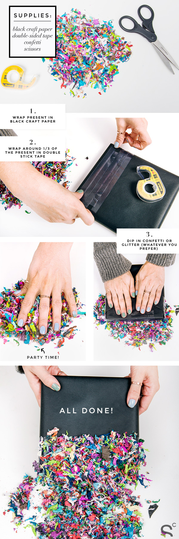 diy gift wrapping with confetti