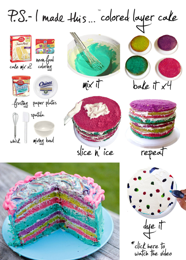 easy diy homemade Colored Layer Cake