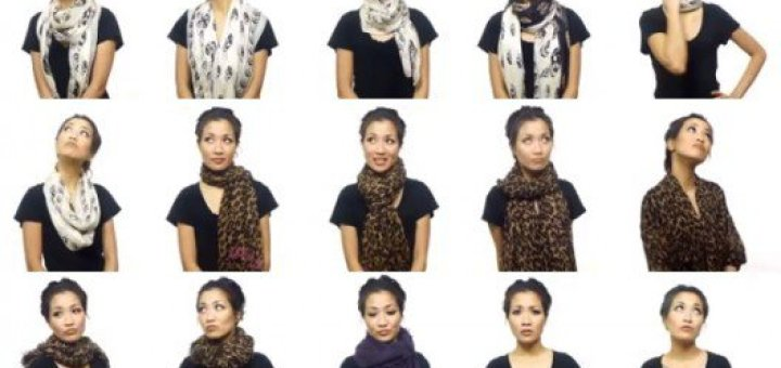 A video shows 25 super stylish ways t0 wear a scarf in five minutes how to wear a scarf how to tie a scarf ccuart Choice Image