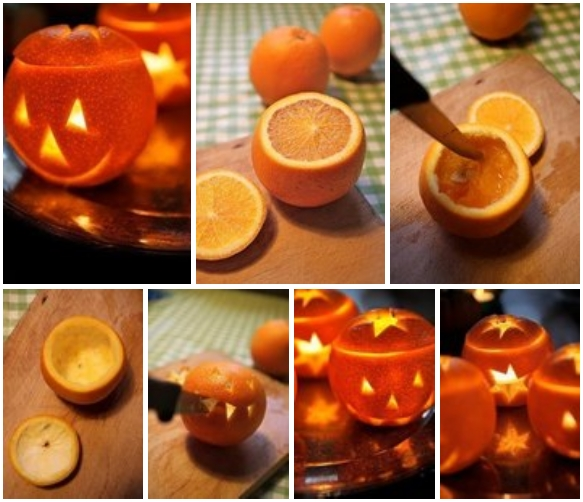 homemade orange peel candle for holloween