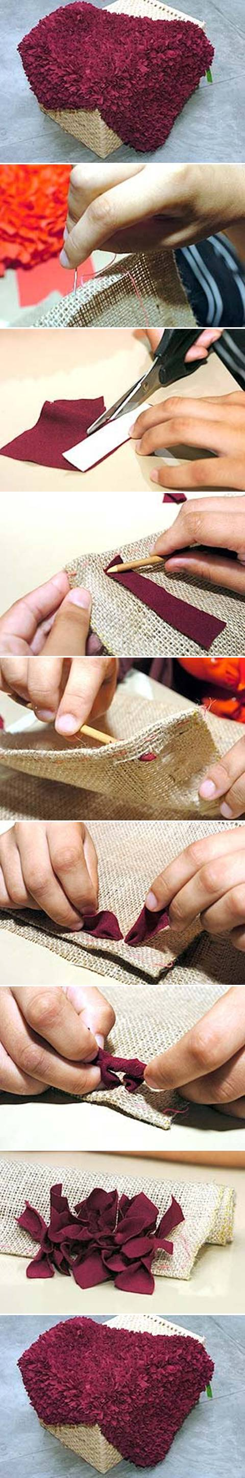 how to make rug from fabric step by step