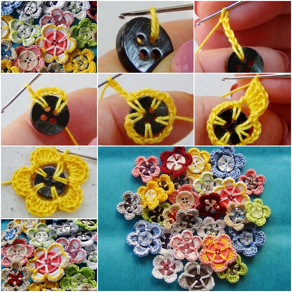 DIY-Crochet-Button-Flowers-Tutorial button crafts