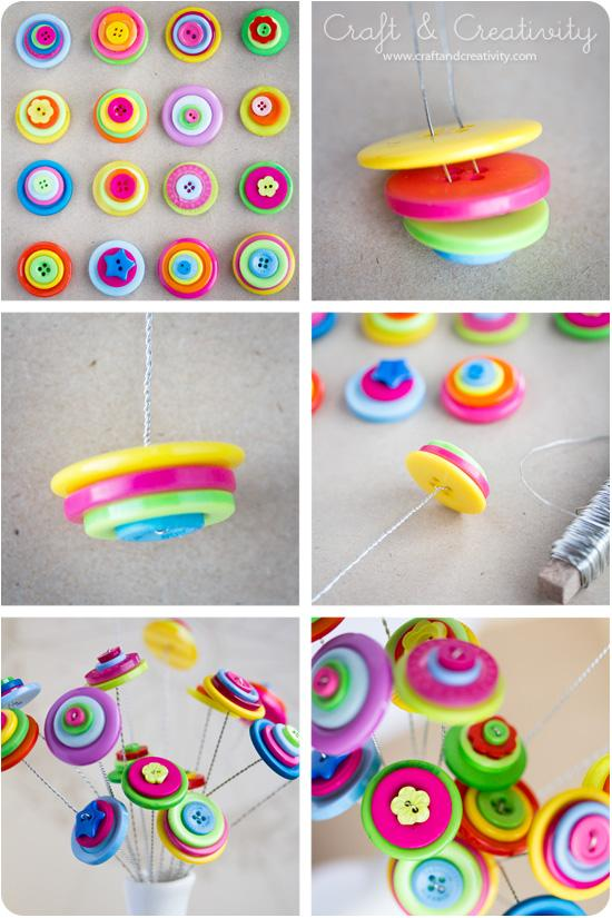 23 easy to make and extremely creative button crafts tutorials for Easy diy arts and crafts