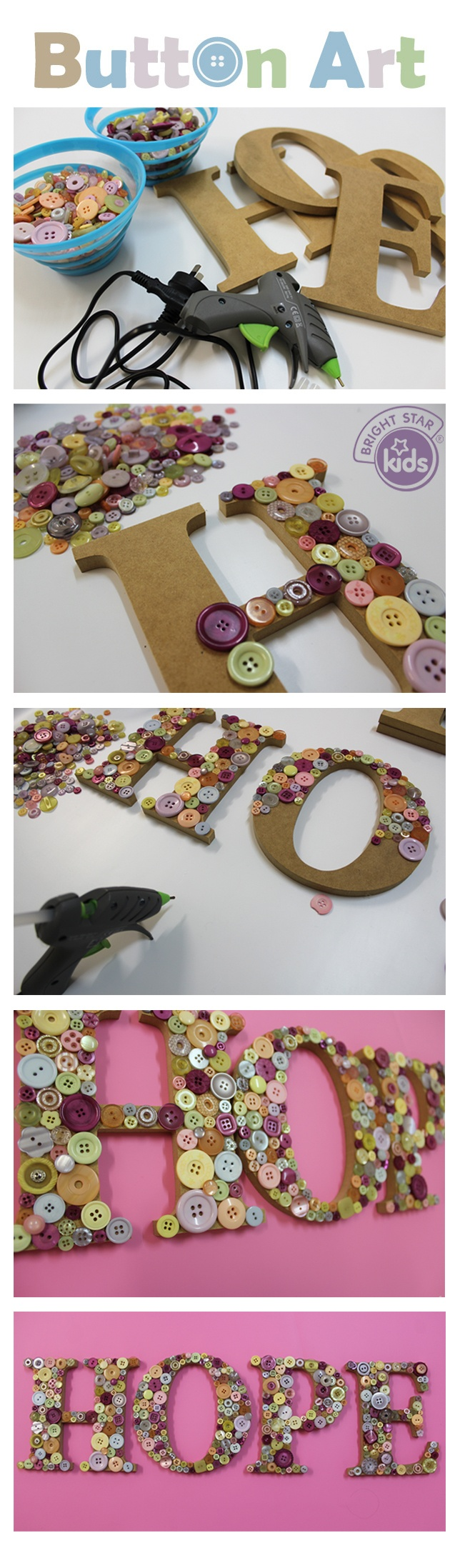DIY button crafts and arts button letters fun projects for kids