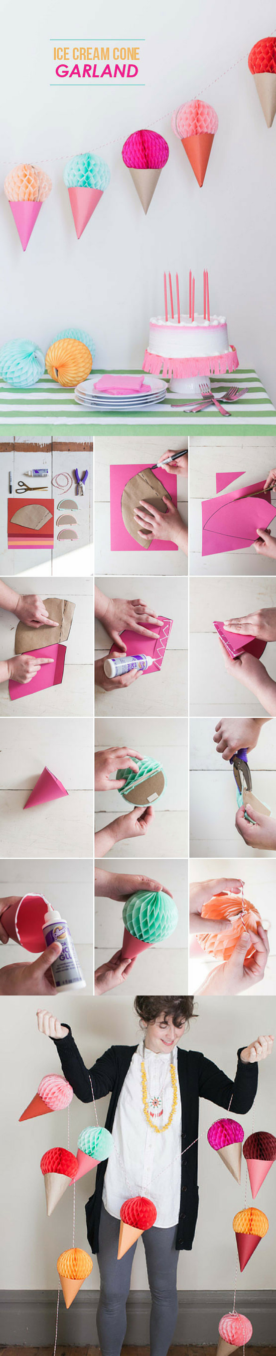 Easy cute ICE CREAM CONE GARLAND DIY