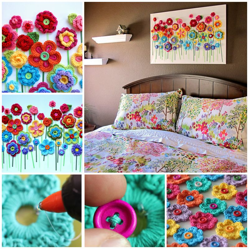 Diy Button Flower Wall Art Step By