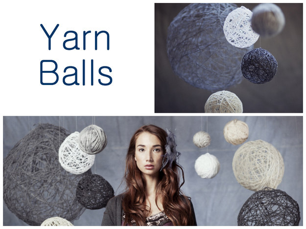 diy handmade yarn balls backdrop