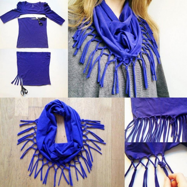 diy scarf from old t shirt-no-sewing