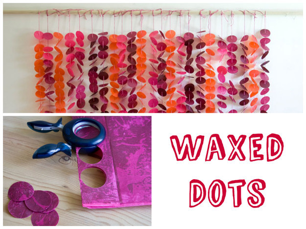 diy tissue paper waxed dots backdrop