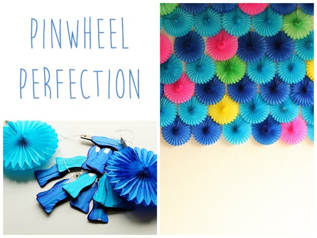 diy wall of pinwheels tutorial