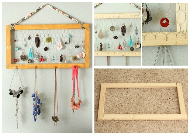 handmade organiser for necklace and earrings