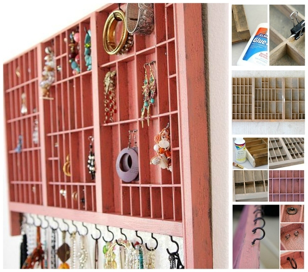repurpose tray to make jewellery organizers