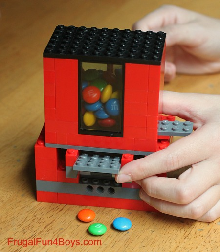 diy lego craft Ways To Upcycle reuse recycle Lego candy-dispenser