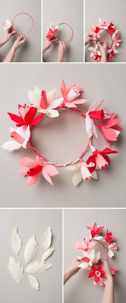 diy how to make a flower crown headband3