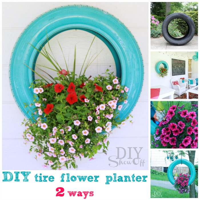 how to recycle and reuse old tires into planter DIY crafts2