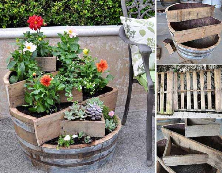 DIY Recycled Barrel Garden Pots
