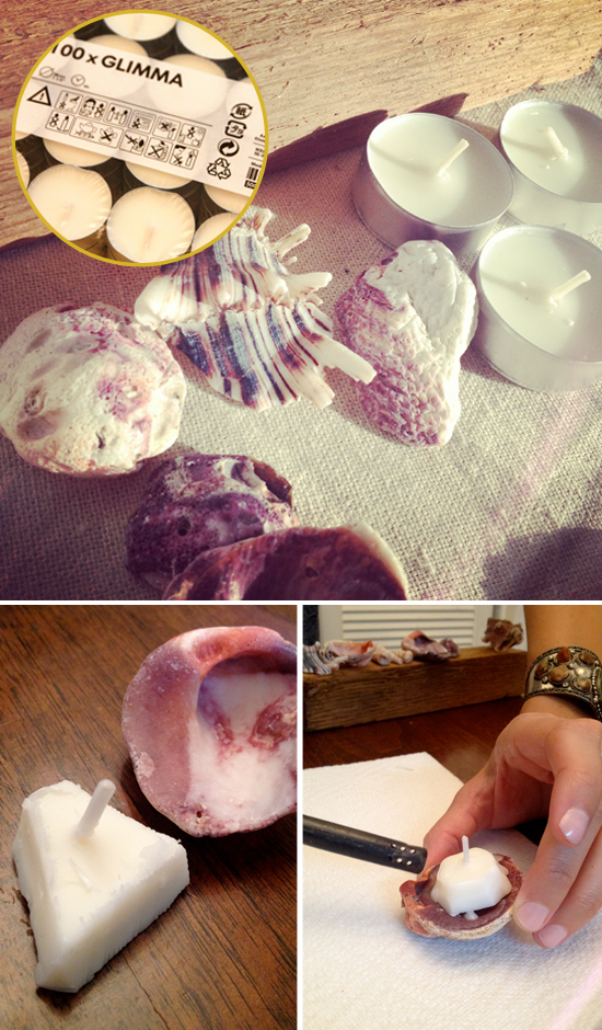 beach-diy-seashell-candles-seashell decoration ideas