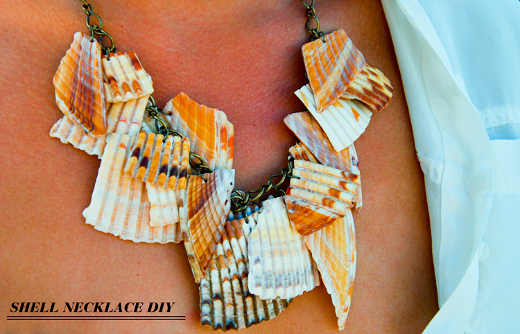 diy easy sea shell necklace jewellery