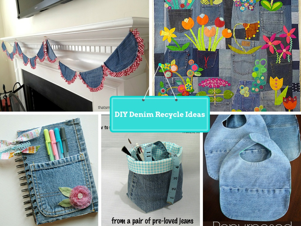7 diy new ways to recycled clothing denim part 2 for Decoration from waste things