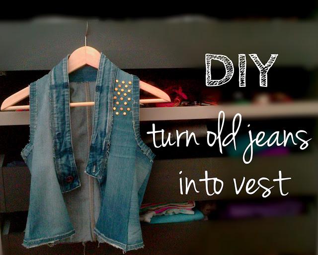 turn old jeans into vest diy reuse old denim jeans