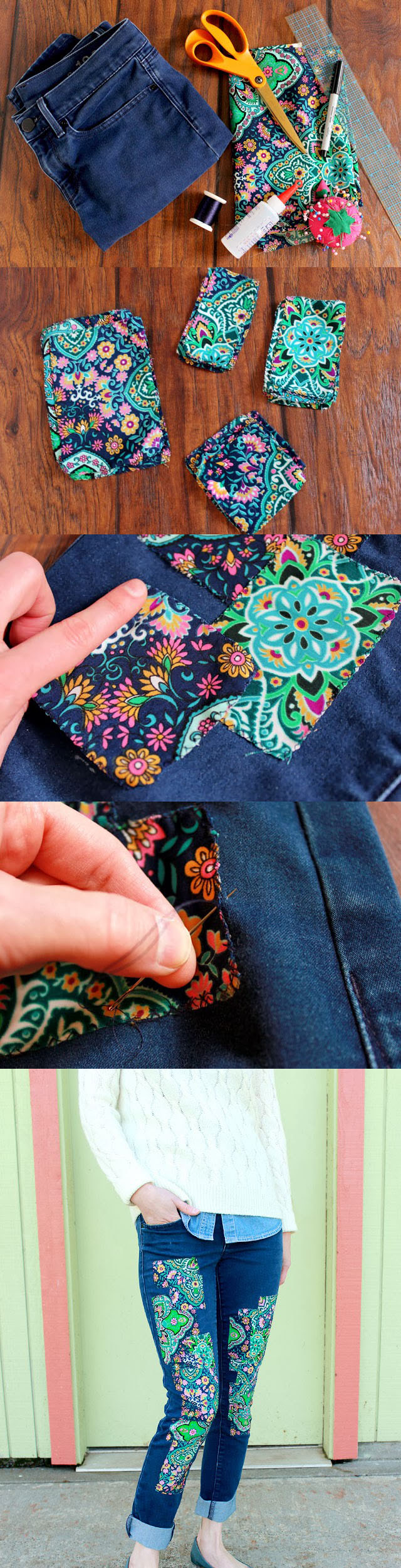 turn old jeans into vest diy reuse old denim jeans8