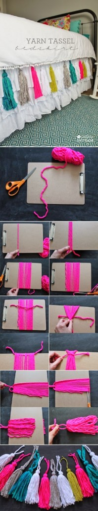 DIY Yarn Tassel Bedskirt1