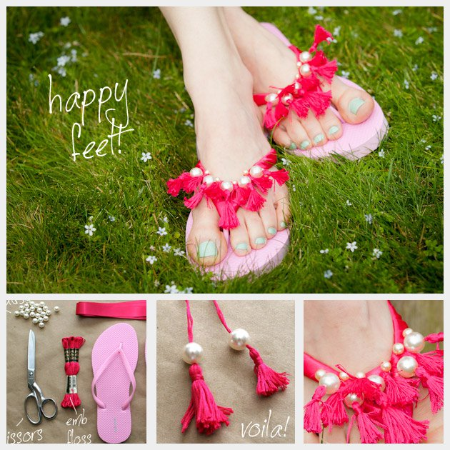 7afeb6a8440d29 10 Super Cool and Easy To Try DIY Flip Flops Ideas