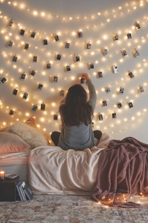 23 stunning diy decoration to do with string lights. Black Bedroom Furniture Sets. Home Design Ideas