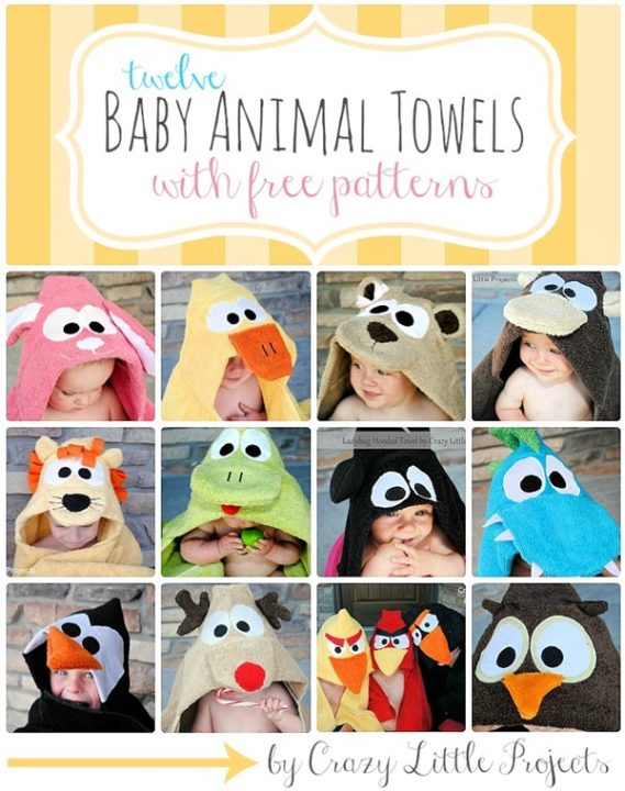 12 Free Patterns Of DIY Baby Animal Towels : Cute DIY Baby Shower Gifts Ideas