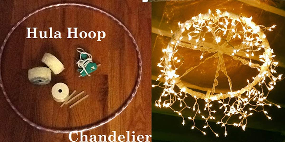 Beautiful DIY Hula Hoop Chandelier