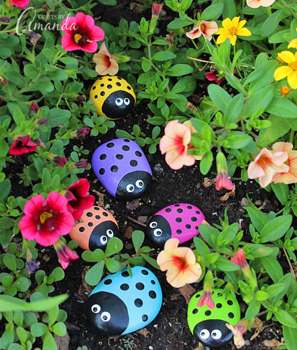 DIY Ladybug Painted Rocks Painting garden