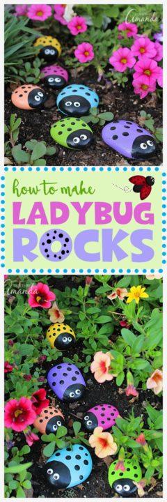 DIY Ladybug Painted Rocks Painting