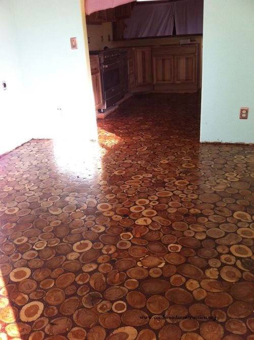 how Make Your Own Cordwood Floor diy