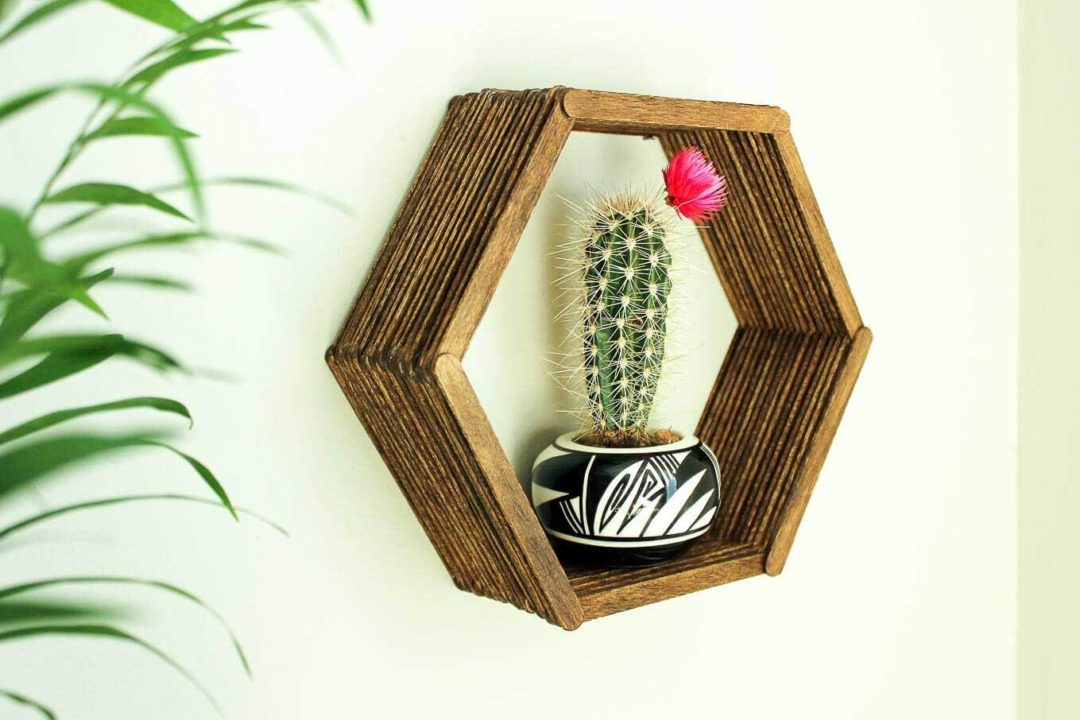 DIY Wall Art Home Decor Idea popsicle stick hexagon shelf