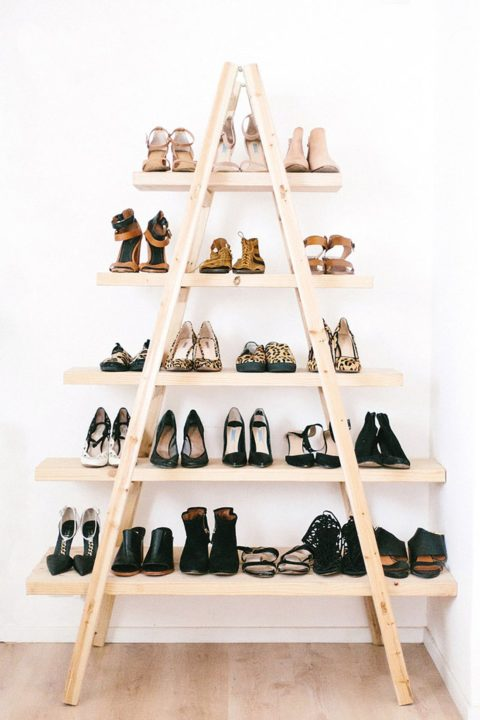 diy ladder shoe rack organization